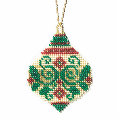 Emerald Flourish Beaded Cross Stitch Ornament Kit Mill Hill 2019 Beaded Holiday MH211911