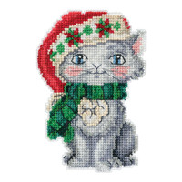 Kitty Cross Stitch Christmas Ornament Kit Mill Hill 2019 Jim Shore JS201912