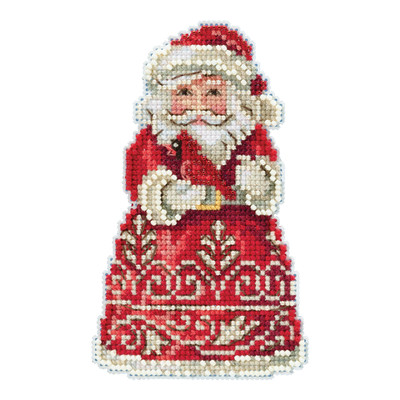 Santa with Cardinal Cross Stitch Ornament Kit Mill Hill 2019 Jim Shore JS201913