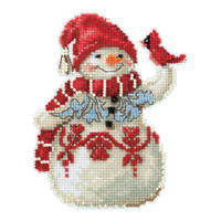 Snowman with Cardinal Cross Stitch Kit Mill Hill 2019 Jim Shore JS201914