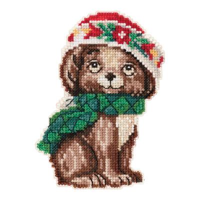 Puppy Cross Stitch Christmas Ornament Kit Mill Hill 2019 Jim Shore JS201915