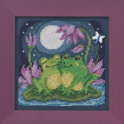 Courtin Froggies Cross Stitch Kit Mill Hill 2020 Buttons & Beads Spring MH142013