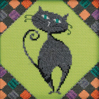 Stitched area of Smoky Beaded Cross Stitch Kit Mill Hill 2020 Debbie Mumm DM302014 Alley Cats