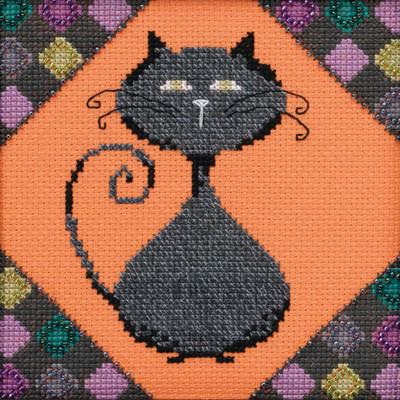 Stitched area of Coal Beaded Cross Stitch Kit Mill Hill 2020 Debbie Mumm DM302013 Alley Cats