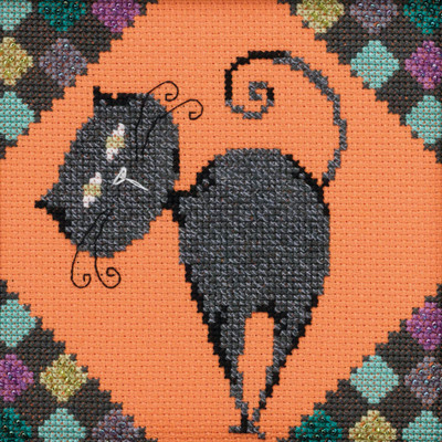 Stitched area of Cinder Beaded Cross Stitch Kit Mill Hill 2020 Debbie Mumm DM302012 Alley Cats