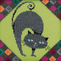 Stitched area of Ashes Beaded Cross Stitch Kit Mill Hill 2020 Debbie Mumm DM302011 Alley Cats