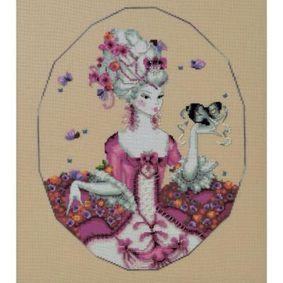 Stitched area of Duchess of Rouen Kit Cross Stitch Chart Beads Silk Floss MD168 Mirabilia Nora Corbett