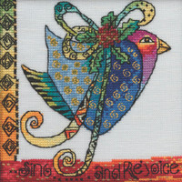 Stitched area of Christmas Blue Dove Cross Stitch Kit Mill Hill 2020 Laurel Burch LB302011