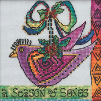 Stitched area of Christmas Purple Dove Cross Stitch Kit Mill Hill 2020 Laurel Burch LB302012