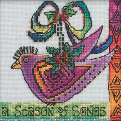 Stitched area of Christmas Purple Dove Cross Stitch Kit Mill Hill 2020 Laurel Burch LB302012