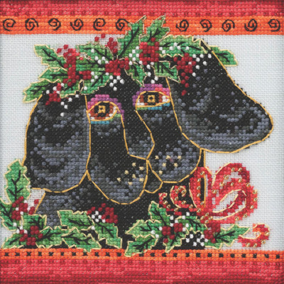 Stitched area of Christmas Puppy Cross Stitch Kit Mill Hill 2020 Laurel Burch LB302013