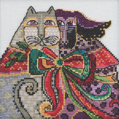 Stitched area of Christmas Cat & Dog Cross Stitch Kit Mill Hill 2020 Laurel Burch LB302014
