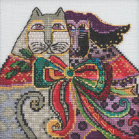 Stitched area of Christmas Cat & Dog Cross Stitch Kit Mill Hill 2020 Laurel Burch LB302014
