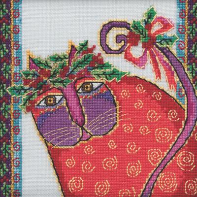 Stitched area of Christmas Kitten Cross Stitch Kit Mill Hill 2020 Laurel Burch LB302015