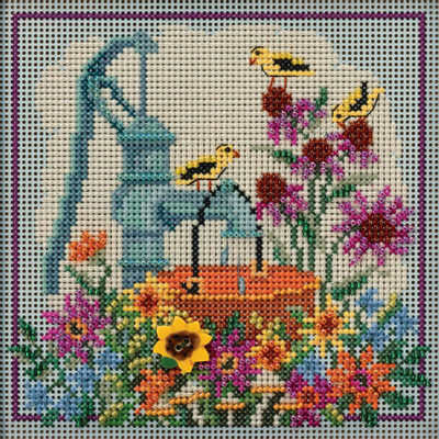 Stitched Area of Water Pump Cross Stitch Kit Mill Hill 2020 Buttons & Beads Autumn MH142021