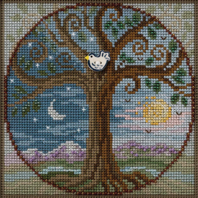 Stitched area of Tree of Life Cross Stitch Kit Mill Hill 2020 Buttons & Beads Autumn MH142023