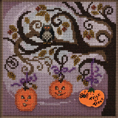Stitched area of Pumpkin Tree Cross Stitch Kit Mill Hill 2020 Buttons & Beads Autumn MH142025