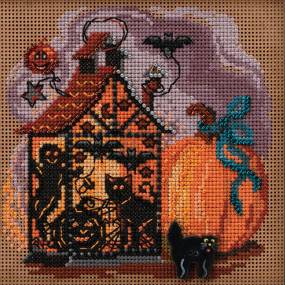 Stitched area of Haunted Lantern Cross Stitch Kit Mill Hill 2020 Buttons & Beads Autumn MH142022
