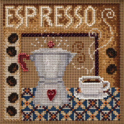 Stitched area of Espresso Cross Stitch Kit Mill Hill 2020 Buttons & Beads Autumn MH142024
