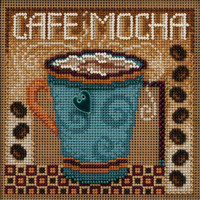 Stitched area of Cafe Mocha Cross Stitch Kit Mill Hill 2020 Buttons & Beads Autumn MH142026