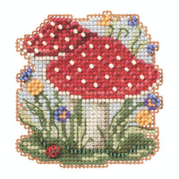 Red Cap Mushrooms Beaded Cross Stitch Kit Mill Hill 2020 Autumn Harvest MH182024
