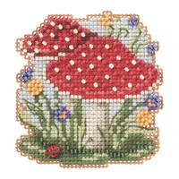Red Cap Mushrooms Beaded Cross Stitch Kit Mill Hill 2020 Autumn Harvest MH182024