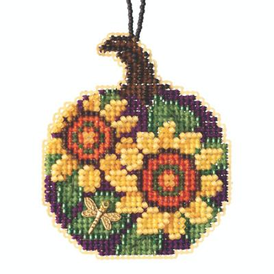 Sunflower Pumpkin Beaded Counted Cross Stitch Kit Mill Hill 2020 Ornament MH162022