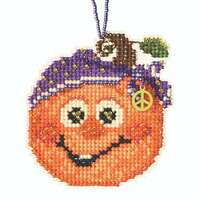 Hippie Pumpkin Beaded Counted Cross Stitch Kit Mill Hill 2020 Ornament MH162025
