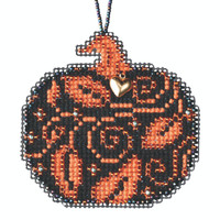 Glowing Pumpkin Beaded Counted Cross Stitch Kit Mill Hill 2020 Ornament MH162023