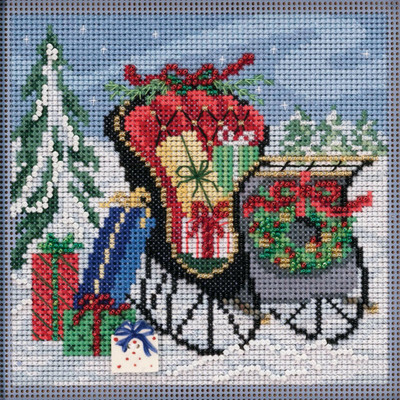 Stitched area of Special Delivery Cross Stitch Kit Mill Hill 2020 Buttons Beads Winter MH142034