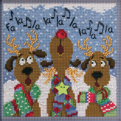 Stitched area of Reindeer Chorus Cross Stitch Kit Mill Hill 2020 Buttons Beads Winter MH142036