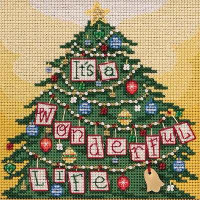 Stitched area of It's a Wonderful Life Cross Stitch Kit Mill Hill 2020 Buttons Beads Winter MH142035