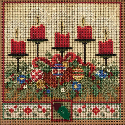 Stitched area of Holiday Glow Cross Stitch Kit Mill Hill 2020 Buttons Beads Winter MH142032