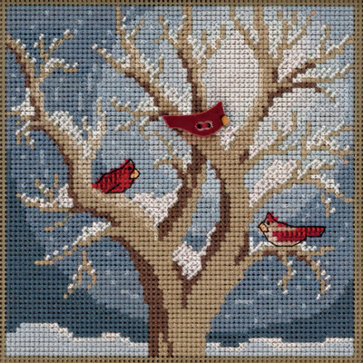 Stitched area of Frosty Morning Cross Stitch Kit Mill Hill 2020 Buttons Beads Winter MH142033