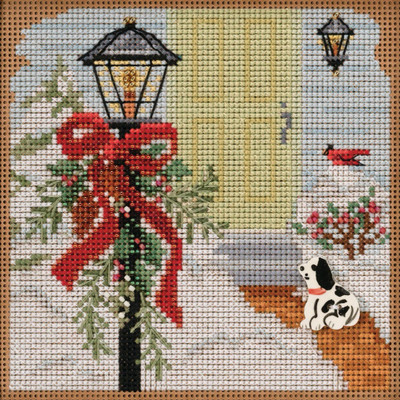 Stitched area of Christmas Welcome Cross Stitch Kit Mill Hill 2020 Buttons Beads Winter MH142031