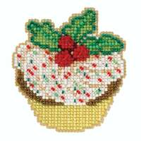 Holly Cupcake Cross Stitch Ornament Kit Mill Hill 2020 Winter Holiday MH182033