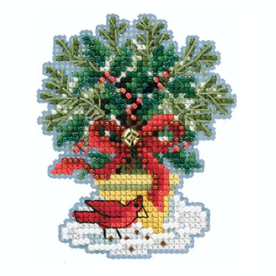 Evergreen Topiary Cross Stitch Ornament Kit Mill Hill 2020 Winter Holiday MH182035