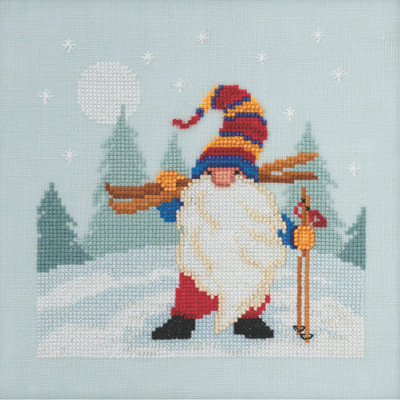 Stitched area of Skiing Gnome Cross Stitch Kit Mill Hill 2020 Gnome Quartet MH172011