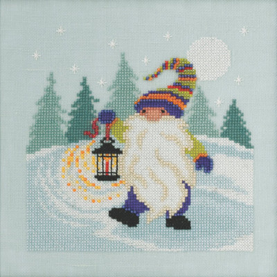 Stitched area of Hiking Gnome Cross Stitch Kit Mill Hill 2020 Gnome Quartet MH172014
