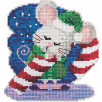 Cindy Cane Cross Stitch Ornament Kit Mill Hill 2020 Mouse Trilogy MH192013