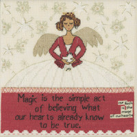 Stitched area of Simple Act Beaded Cross Stitch Kit Curly Girl 2020 Mill Hill CG302011