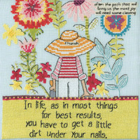 Stitched area of Little Dirt Beaded Cross Stitch Kit Curly Girl 2020 Mill Hill CG302012