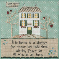 Stitched area of Home Is A Shelter Beaded Cross Stitch Kit Curly Girl 2020 Mill Hill CG302013