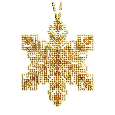 Golden Snowflake Beaded Cross Stitch Ornament Kit Mill Hill 2020 Beaded Holiday MH212012