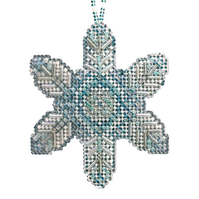 Opal Ice Snowflake Beaded Cross Stitch Ornament Kit Mill Hill 2020 Beaded Holiday MH212013