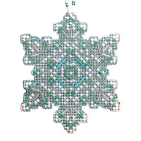Aqua Mist Snowflake Beaded Cross Stitch Ornament Kit Mill Hill 2020 Beaded Holiday MH212015