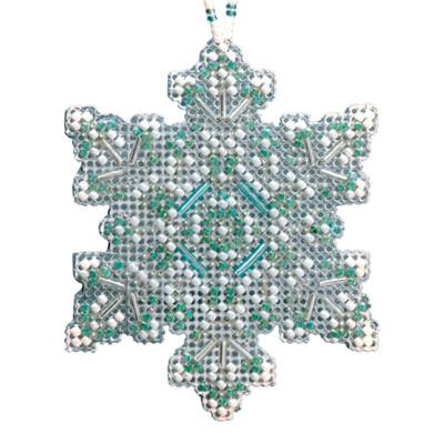 Aqua Mist Snowflake Beaded Cross Stitch Ornament Kit Mill Hill 2020 Beaded Holiday MH212015