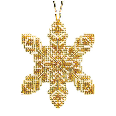 Pearl Snowflake Beaded Cross Stitch Ornament Kit Mill Hill 2020 Beaded Holiday MH212016