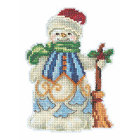 Clean Sweep Snowman Cross Stitch Kit Mill Hill 2020 Jim Shore JS202013