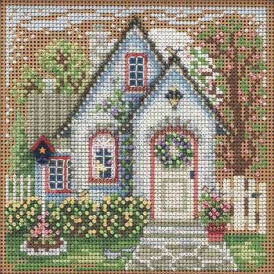 Stitched area of Summer Cottage Cross Stitch Kit Mill Hill 2021 Buttons & Beads Spring MH142115